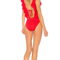 Suboo The Chase Frill Scoop One Piece in Red | REVOLVE