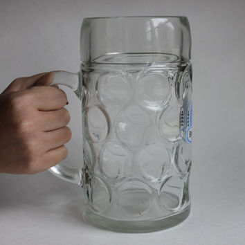 Huge 1 Liter German Mega Beer Mug, Brauhaus Amberg, Vintage Dimpled Glass Stein, Lion Crest, Made in Germany