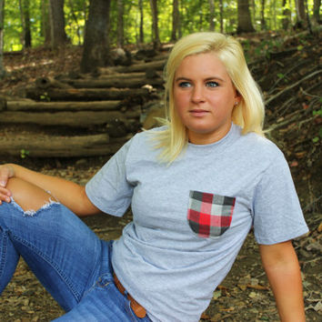 Classic Red and Grey Plaid Flannel Patterned Pocket Tee
