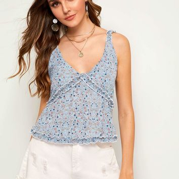Ditsy Floral Frill Cami Top