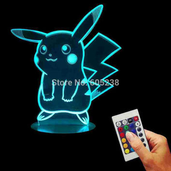 Free Shipping 1Piece Pokemon Go Action Figure Remote Controlled 3D Hologram Illusion Night Light Pikachu Art Sculpture Lights