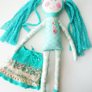 Handmade Doll, Turquoise Stuffed Rag Doll, Textile Doll for Girl, 18 inch Doll, Birthday Gift, Fabric Doll, Handmade Doll for Girl,  Ooak