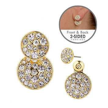 Trendy Front-Back Pave Disc Jacket Earrings in Gold
