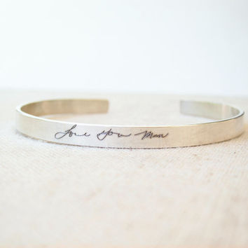 Thin Silver Cuff with ACTUAL Handwriting - Personalized Jewelry - Memorial