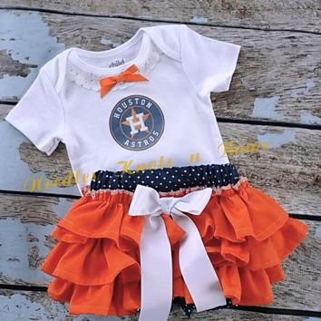 Girls Houston Astro's Game Day Outfit, Baby Girls Baseball Outfit, Coming Home Outfit