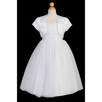 Beaded Satin & Tulle Girls Communion Dress w. Bolero Jacket 6-14