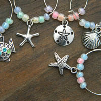 Wine Glass Charms! Beach themed with pastel colors shell, starfish,fish - Host gift - Christmas Wedding Birthday Party