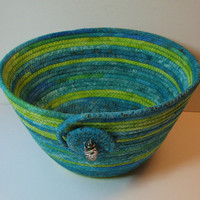 Coiled Fabric Basket, Coiled Fabric Bowl, decorative bowl, lime/teal/aqua