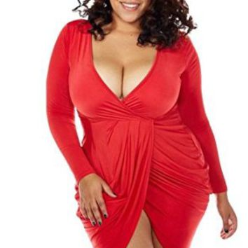Women's Plus Size Deep V Neck Bodycon Wrap Short Dress