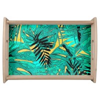 Tropical green leaves texture serving tray
