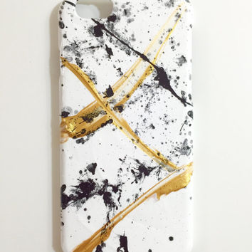 iPhone 6 Case Abstract Hand Painted Cellphone Accessories hard plastic Black White Gold