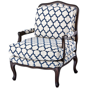 Harper Bergère, Navy/White, Accent & Occasional Chairs