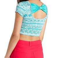 BOW-BACK AZTEC PRINT CROP TOP