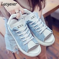 Lucyever platform sandals wedges for woman 2017 spring summer lace up peep toe canvas casual shoes women flip flops white blue