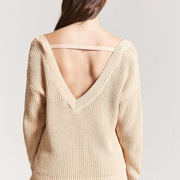 Ribbed Knit V-Cutout Sweater