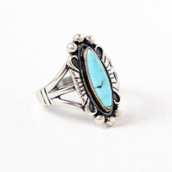 Vintage Sterling Silver Turquoise Blue Stone Ring- Size 8 Retro Southwestern Native American Style Jewelry