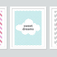 Chevron Sweet Dreams Wall Art Series, Monogrammed, 3 Piece Set -11x14 Prints, Children and Nursery Decor