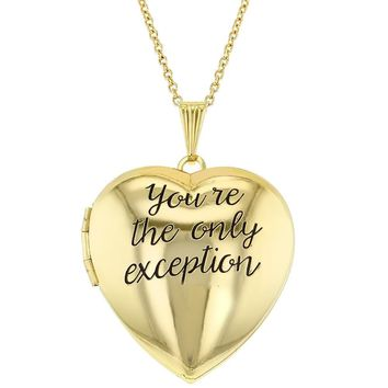 You're the Only Exception Heart Photo Locket Pendant Womens Necklace 19""