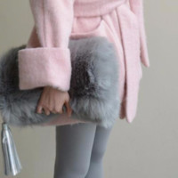 Gray Faux Fur Fold Over Clutch