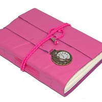 Pink Leather Journal with Bookmark