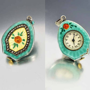 Green Enamel & Flower Sterling Watch Pendant c 1920s