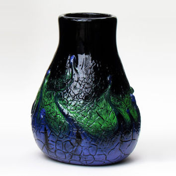 Decorative Glass Vase, Hand Blown, Black with Green, Blue and Purple Crackle Pattern - Glassblowing - Blown Glass - Flower Vase - Home Decor