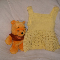Handmade Yellow Crocheted baby Sundress by CanadianCraftCritter