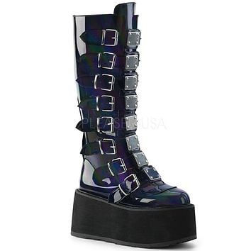 Black Holographic Buckled Knee High Platform Boots