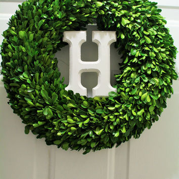 Monogram Initial  Dried Boxwood Wreath , Boxwood wreath ,Year round Wreath ,Round Boxwood,  Spring Wreath, Summer Wreath