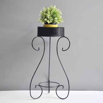 Mid-Century Metal Plant Stand with Scroll Feet