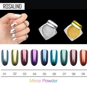 ROSALIND Magic Mirror Chrome Powder Metallic Gold Silver Nail Powder With Sponge Stick Makeup Dust Nail Art DIY Pigment Glitters