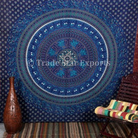 Large Wall Tapestries, Beach Blanket, Indian Wall Hanging, Blue Tapestry, Elephant Wall Art, Indian Hippie Tapestries, Outdoor Table Cover