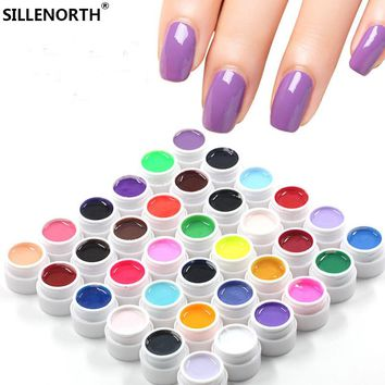 brand SILLENORTH New Arrival 36 colors UV metallic Pure color Nail Polish Gel For Nail Art Tips Solid Extension Manicure