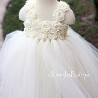 Ivory tutu dress flower girl dress Baby dress toddler birthday dress wedding dress 1T 2T 3T 4T 5T 6T