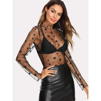 Transparent Star Pattern Mesh Bodysuit