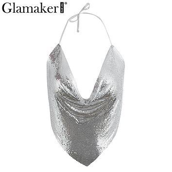 Glamaker Sexy chain sequined deep v neck camisole tank Women tops halter summer tank top Backless beach night club crop tops