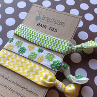 FOE Hair Ties St Patricks Day Shamrock Green Yellow Chevron elastic pony tail holder party favor