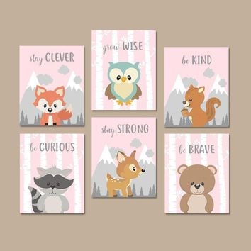 WOODLAND Animals Wall Art, Woodland Animals Quotes Nursery Decor, Baby Girl Nursery Canvas or Prints Woodland Creatures Artwork Set of 6