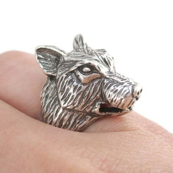 Big Bad Wolf Shaped Unisex Animal Spirit Ring in Silver