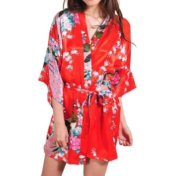 Silk Satin Wedding Bride Bridesmaid Robe Floral Bathrobe Short Kimono Robe Night Robe Bath Robe Fashion Dressing Gown