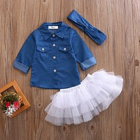 3PCS Toddler Girl Denim Tops T-shirt +Tutu Skirt Headband Outfit