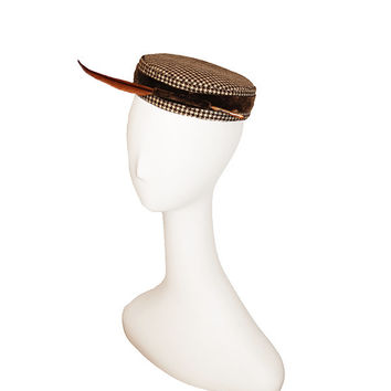 1960s Brown Houndstooth Pillbox Hat, Lacquered Quill Feather