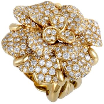 Chanel Camelia Diamond Pave Yellow Gold Ring