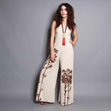 ea7ccf7ad58a 70s TREES Novelty Print JUMPSUIT   Ivory Sleeveless Bell Bottom