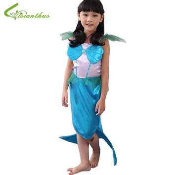 Girls Halloween Costumes Little Mermaid Dress Cosplay Stage Wear Clothing Kids Party Fancy Ball Clothes Fairy Tales Free Ship