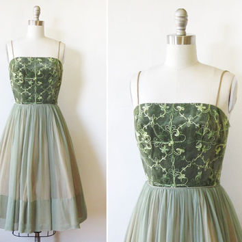 1950s dress / vintage 50s green party dress / mid century velvet and chiffon dress