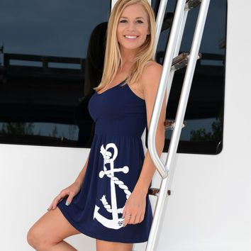ONESIZE fits some with straps navy anchor dress