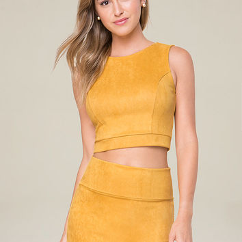 Faux Suede Crop Top | bebe