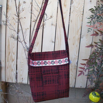 Brick Red Plaid and Daisies Handy Book Laptop Cross Body Bag Wide Shoulder Strap