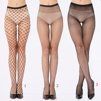 Women Fishnet Stockings Ladies Sexy Fish Net Pantyhose Black Mesh Lingerie Sheer Tights